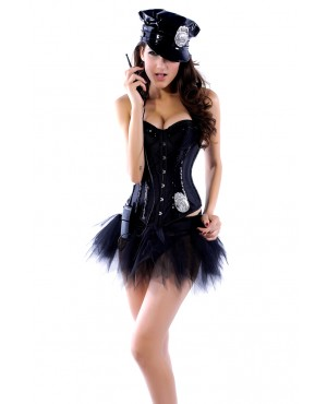 Black Sequin Neck Line Corset With G-string