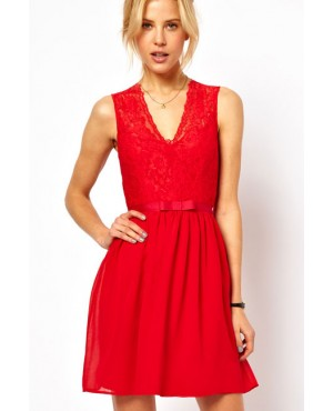 Red Scalloped Lace Skater Dress