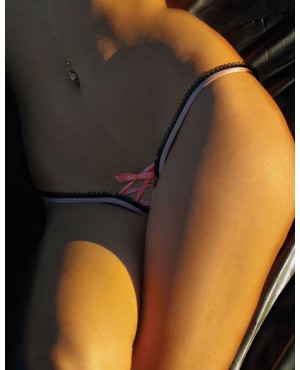 Crotchless Lace-up Thong