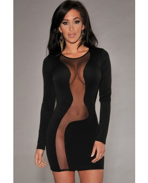 Ultra Sexy See Through Mesh Long-sleeved Dress