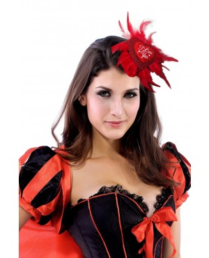 Enthusiastic Red Feather And Heart Shaped Lurex Hair Clip Costume Hat