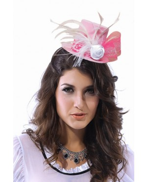 Brilliant Lady Headwear White Rose Top Hat For Party