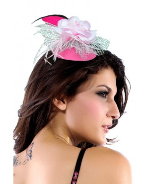 Showy Hawaii Mini Top-hat With Chiffon Flower And Feather Costume Hat