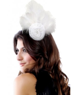 Gorgeous White Brooch Hair Clip With Feather And Chiffon Flower Costume Hat