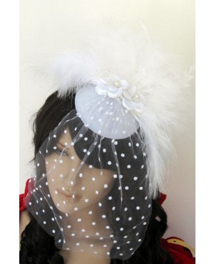 Ravishing White Mini Top-hat With Feather And Flowers