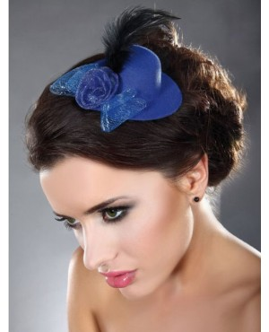 Noble Blue Mini Top Hat With Rose and Feather