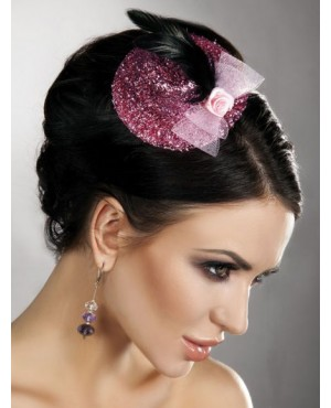 Exquisite Pink Mini Top Hat With Rose and Feather