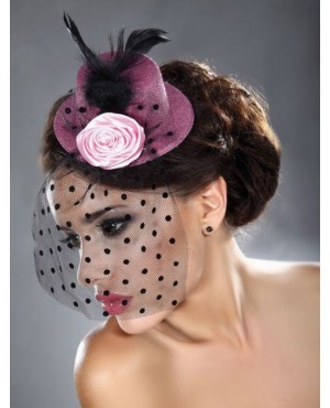 Bright Pink Mini Top Hat With Rose And Net