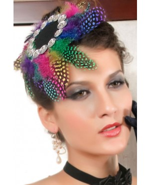 Florid Rainbow Color Feather Top Hat With Resin Rhinestone