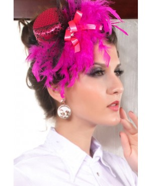 Coquettish Rose Mini Top Hat With Feather And Sequin