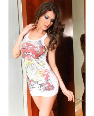 Fascinating Charm Edial Tattoo Destroyed White Top Club Dresses