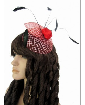 Feather and Flowers Red Hair Accessory