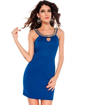 Unusual Neckline Blue Keyhole Dress