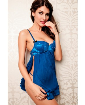 Enthusiastic Blue Embellished Babydoll
