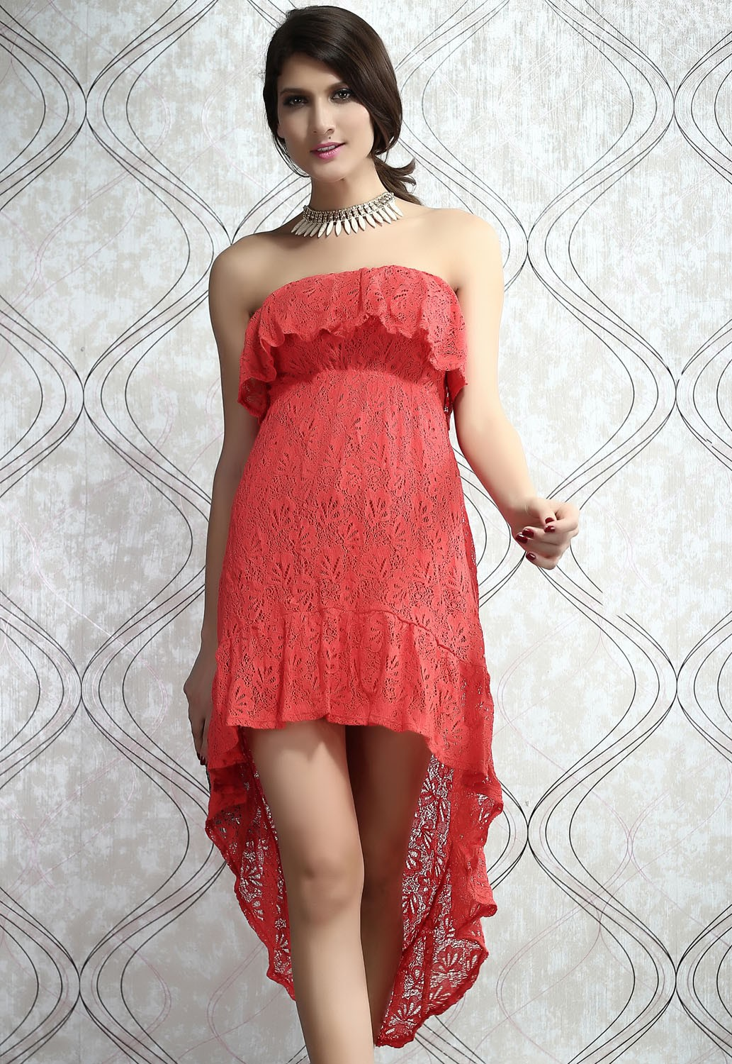 coral lace ruffled strapless highlow dress