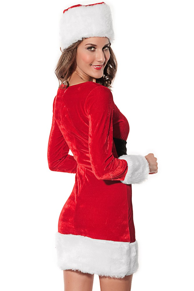Mrs santa claus long sleeves costume dress