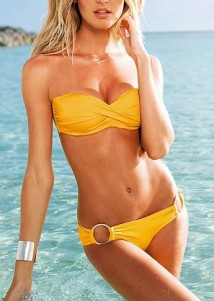 Elegant Light Yellow Strapless Push-up Beach Bandeau Top Bikini Swimwear