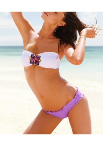 Neat Rhinestones Decor White Strapless Push Up Bandeau Bikini with Purple Ruffled Edges Briefs