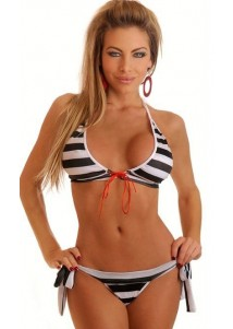 Attractive Colorful Stripe Bikini Swimsuit