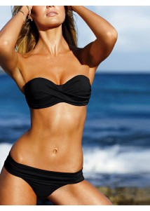 Elegant Black Strapless Push-up Beach Bandeau Top Bikini Swimwear