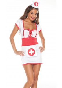 Sexy Nurse Cosplay Costume White and Red