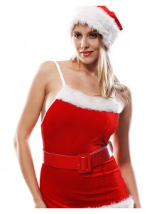 Chic Santa Fur Trimmed Halter Mini-dress