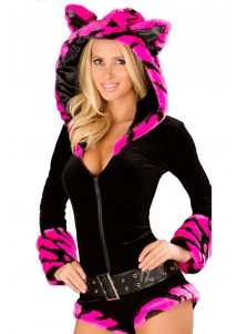 Deluxe Hot Pink Tiger Romper Costume