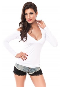 Sexy Neck Holder Long Sleeve Shirt Nine White