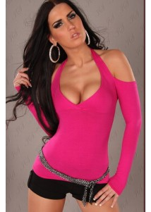 Sexy Neck Holder Long Sleeve Shirt Nine Pink
