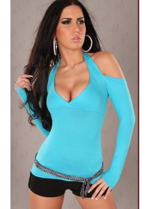 Sexy Neck Holder Long Sleeve Shirt Nine Blue
