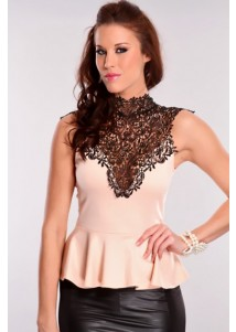 Embroidered Neck Peplum Club Top Pink