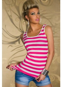 Fashion Pink Pinstripes Top with Embroidered Lace