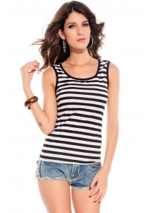Fashion Black Pinstripes Top with Embroidered Lace