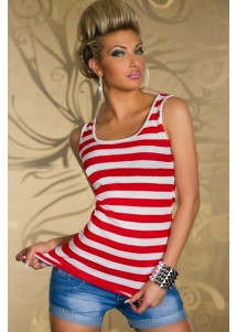 Fashion Red Pinstripes Top with Embroidered Lace