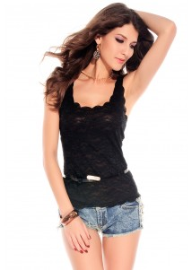 Exquisite Lace Tank Top Black