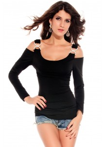 Rhinestone Double-C Buckles Long Sleeves Shirt Black