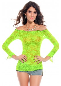 Fluorescent Lace Smock Green
