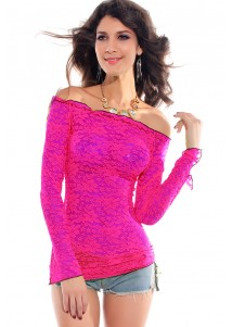 Fluorescent Lace Smock Rosy