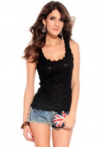 Lace Accent Peplum Top Black