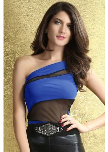Stifling Stuffless One-shoulder Top Blue