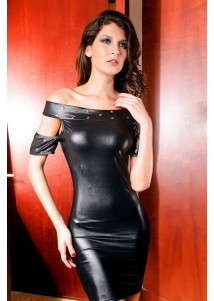 Black Open Shoulder leather lingerie