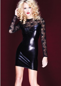Black Wetlook and Stretch Lace Long Sleeve Mini Dress