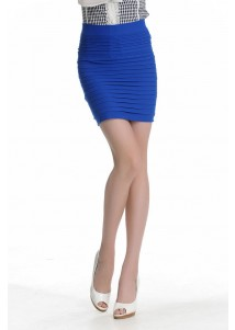 New Female Fashion Thick Fold Tight-fitting Skirt Blue