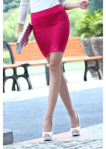 New Female Fashion Thick Fold Tight-fitting Skirt Pink