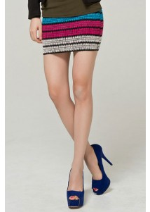 Candy Color Elastic Striped Knit Package Hip Skirt