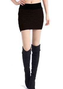 Square Grid Knitted Package Hip Skirt Khaki