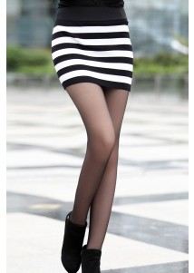 White and Black Elastic Striped Knit Package Hip Skirt