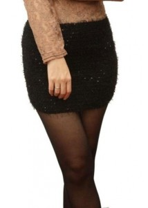 Plush Elasticity Sequins Miniskirt Black