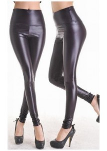 Slip into a pair of black faux leather leggings