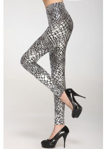 Metallic Scale Veins Legging Silver